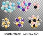 flying mega set of colorful... | Shutterstock .eps vector #608267564