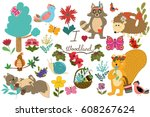 set with forest animals and... | Shutterstock .eps vector #608267624