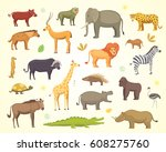 african animals cartoon vector... | Shutterstock .eps vector #608275760