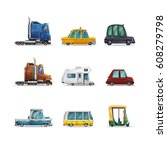 set of icons cute stylized cars ... | Shutterstock .eps vector #608279798