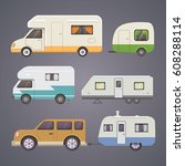 retro camper trailer collection.... | Shutterstock .eps vector #608288114