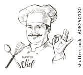 portrait of restaurant's... | Shutterstock .eps vector #608290130