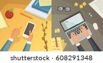 flat design top view on desk... | Shutterstock .eps vector #608291348