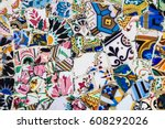 spanish mosaic. abstract... | Shutterstock . vector #608292026