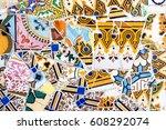 spanish mosaic. abstract... | Shutterstock . vector #608292074