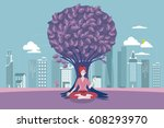 young woman meditating with... | Shutterstock .eps vector #608293970