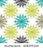Sunflower Pattern In Teal ...