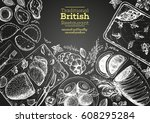 british cuisine top view frame. ... | Shutterstock .eps vector #608295284