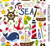 seamless pattern with nautical...   Shutterstock .eps vector #608295566