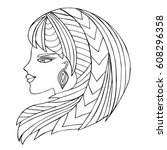zentangle stylized girl... | Shutterstock .eps vector #608296358