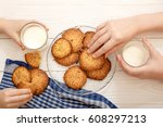 sesame biscuits with milk for... | Shutterstock . vector #608297213