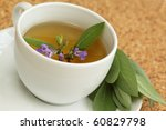 Teacup with garden sage tea / Salvia officinalis/ - stock photo