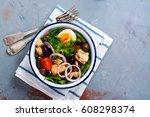nicoise salad. healthy brunch.... | Shutterstock . vector #608298374