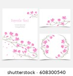 set vector illustration pink... | Shutterstock .eps vector #608300540