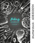 bakery top view vertical frame. ... | Shutterstock .eps vector #608303054