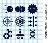set of 9 molecule filled icons... | Shutterstock .eps vector #608306810