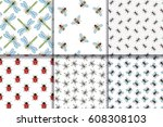 insects seamless patterns... | Shutterstock .eps vector #608308103