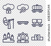 platform icons set. set of 9... | Shutterstock .eps vector #608309144