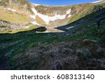mirror reflection in a mountain ... | Shutterstock . vector #608313140