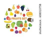 fruits and berries icon set. | Shutterstock .eps vector #608313758
