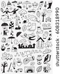 autumn   hand drawn vector... | Shutterstock .eps vector #608318990