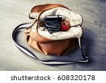 inside woman leather handbag on ... | Shutterstock . vector #608320178