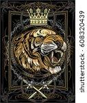 tiger face | Shutterstock .eps vector #608320439