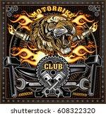 vintage tiger motorcycle label | Shutterstock .eps vector #608322320