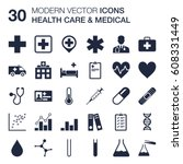 set of 30 quality icons about... | Shutterstock .eps vector #608331449