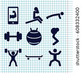 set of 9 fit filled icons such...   Shutterstock .eps vector #608332400