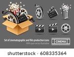full cardboard box filled... | Shutterstock .eps vector #608335364