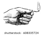 hand with burning match | Shutterstock . vector #608335724