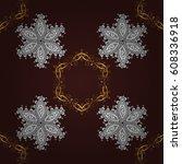 seamless vintage pattern on... | Shutterstock . vector #608336918