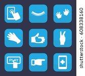 finger icon. set of 9 filled... | Shutterstock .eps vector #608338160