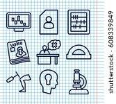 set of 9 education outline... | Shutterstock .eps vector #608339849