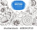 british cuisine top view frame. ... | Shutterstock .eps vector #608341910