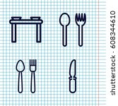 set of 4 dishware outline icons