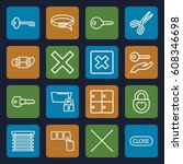 close icons set. set of 16... | Shutterstock .eps vector #608346698