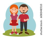 parent couple avatars characters | Shutterstock .eps vector #608348510
