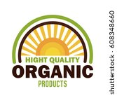 organic product guaranteed seal | Shutterstock .eps vector #608348660