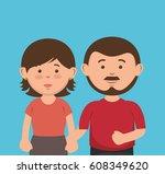 parent couple avatars characters | Shutterstock .eps vector #608349620