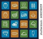 gourmet icons set. set of 16...   Shutterstock .eps vector #608358059