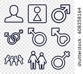 gender icons set. set of 9... | Shutterstock .eps vector #608358164