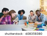 happy young multiracial group... | Shutterstock . vector #608358380