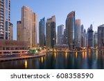 dubai marina skyscraper... | Shutterstock . vector #608358590