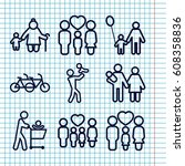 set of 9 father outline icons... | Shutterstock .eps vector #608358836