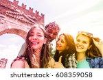 happy diverse culture friends... | Shutterstock . vector #608359058