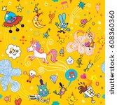 fun cartoon characters seamless ... | Shutterstock .eps vector #608360360