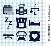 set of 9 bed filled icons such... | Shutterstock .eps vector #608361320