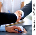 business people shaking hands ... | Shutterstock . vector #608363510